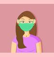 a woman using medical mask vector image vector image
