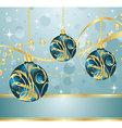 abstract blue background with christmas balls vector image