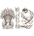 beautiful girl in a headdress of north american vector image vector image