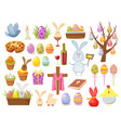 big collection of happy easter objects flat vector image vector image
