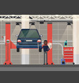 car repair or diagnosticvehicle at lift elevator vector image