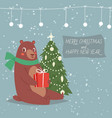 cartoon bear with merry christmas tree and happy vector image