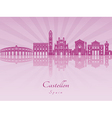 Castellon skyline in purple radiant orchid vector image vector image