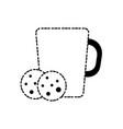 coffee mug and cookie icon vector image vector image