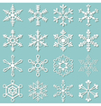 collection 16 different snowflakes vector image