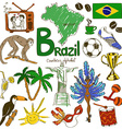 collection brazil icons vector image vector image