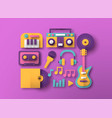 colorful music instrument paper cut icon set vector image