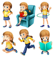 Different activities of a young girl vector image vector image