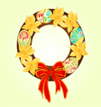 Easter wreath with easter eggs and daffodil vector image vector image