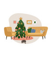 festive interior with home decorations - christmas vector image