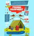 fishing sport fisherman tackle and equipment vector image
