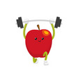 flat apple character powerlifting sportsman vector image vector image