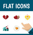flat icon love set of divorce shaped box gift vector image vector image