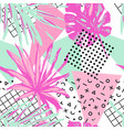 funky floral geometric seamless pattern in trendy vector image