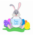 funny cartoon hare with easter eggs vector image