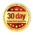 Golden badge with red fill and 30 day money back vector image