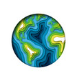 green planet earth isolated layered paper cutout vector image