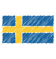 hand drawn national flag of sweden isolated on a vector image