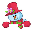 little cute smiling snowman vector image vector image