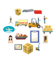 Logistics icons set cartoon style