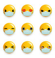 medical mask virus protection emoticon smiley vector image vector image