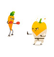 pepper carrot sport characters set vector image