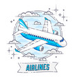 plane airliner with round shape and ribbon vector image vector image