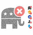 reject republican mosaic icon unequal items vector image vector image