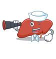 sailor with binocular liver mascot cartoon style vector image
