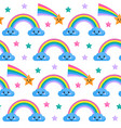 seamless pattern with rainbow and clouds vector image