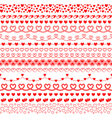 set of brushes with hearts to create frames vector image vector image