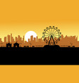 silhouette amusement park scenery for kid vector image vector image