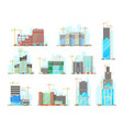 skyscrapers building construction icons set vector image