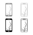 smartphone with crack on display broken modern vector image vector image