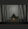spooky house in woods vector image