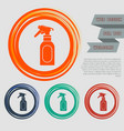 spray icon on red blue green orange buttons vector image vector image