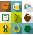 st patrick holiday icon set flat style vector image vector image