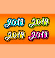 text 2019 for decoration of new year projects vector image