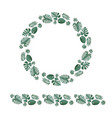 tropical leaves wreath and horizontal border vector image vector image