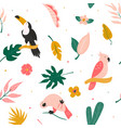tropical seamless pattern with birds and leaves vector image vector image