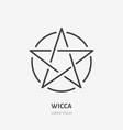 wiccan pentacle flat line icon wicca magic sign