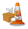 with box traffic cone on made in cartoon vector image vector image
