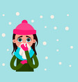 woman with flu on the background of snow vector image vector image