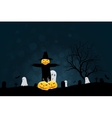 Halloween Party Background with Scarecrow Ghosts vector image