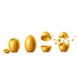 3d golden eggs with broken eggshell set vector image vector image