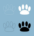 animal footprint the black and white color icon vector image vector image