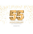anniversary 55 gold 3d numbers vector image vector image