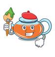 artist transparent teapot character cartoon vector image