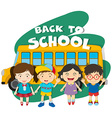 Back to school theme with children and bus vector image vector image