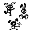 black and white rabbits vector image vector image